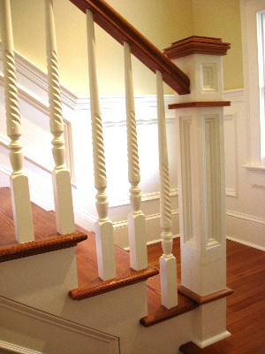 Interior Custom Carpentry:Staircase andWainscoting